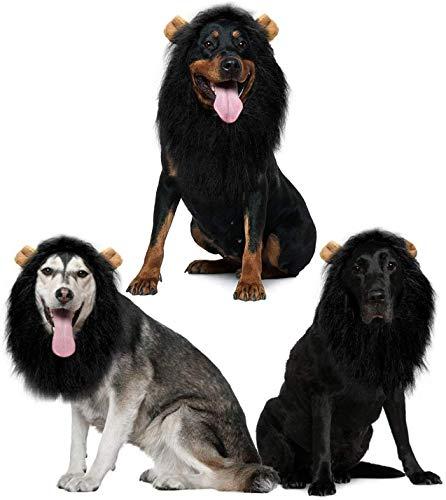 Jemma - Peluca de melena de león para perro, realista y divertido, peluca de león ajustable para perros medianos a grandes, fiesta de Pascua, Halloween, disfraz, color negro