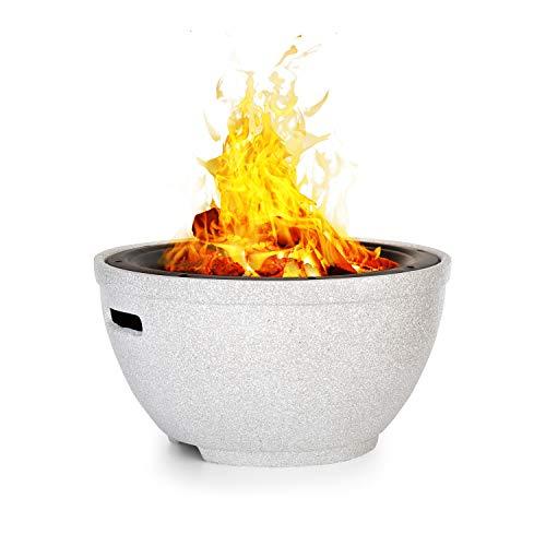 blumfeldt Syrakus Feuerschale Feuerstelle, Ø Feuerschale: 37 cm, Wasser- und frostfest, Brennstoff: Holz oder Holzkohle, Stahl, MagicMag: MgO-Kunststein, Stein-Optik/schwarz