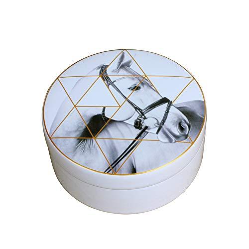 gdxy Sieradendoos Single Grid Hoge Capaciteit Paard Opbergdoos Keramische Geometrische Achtergrond Paard Sieraden Horloge Ring Opslag Potje High-end