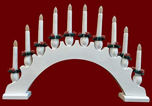 Yanka-style - Arco luminoso semicircolare, 10 luci, in legno, circa 48 cm, colore: Bianco