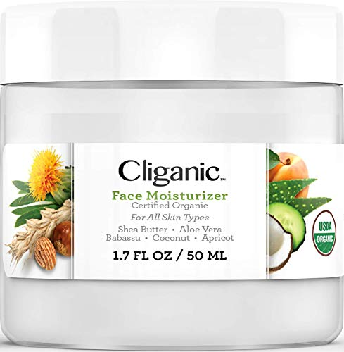 Cliganic Organic Face Moisturizer for Men & Women, 1.7oz, 50ml | for Normal, Dry & Oily Skin