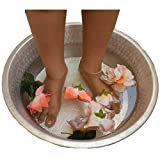 Light Weight Silver Nickel Foot Rub Spa Beauty Salon Massage Pedicure Bowl Body Reliever Immune System Improvement Pain Inflammation Relief Health Benefits Basin Tub Pot Water Flowers Garden Fountain
