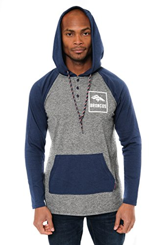 Ultra Game NFL Denver Broncos Mens Fleece Hoodie Pullover Sweatshirt Henley, Team Color, Large