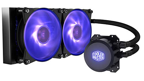Cooler Master MasterLiquid ML240L RGB Close-Loop CPU Liquid Cooler, 240mm Radiator, Dual Chamber RGB Pump, Dual MF120R RGB Fans w/ RGB Lighting Sync for AMD Ryzen/Intel 1151/2066