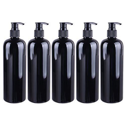 Beaupretty 500ML Seifenspender Spülmittelspender Kunststoff wiederbefüllbar Schaumseifenspender Pumpflaschen für Bad Kosmetik Shampoo Cremes Flüssigkeit Schwarz 5 Stück
