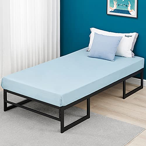 SAYGOER Single Bed Frame Base Metal Platform Mattress Foundation No Box Spring Needed Heavy Duty Steel Metal Slat Support Underbed Storage Space Noise Free Non-Slip Easy Assembly
