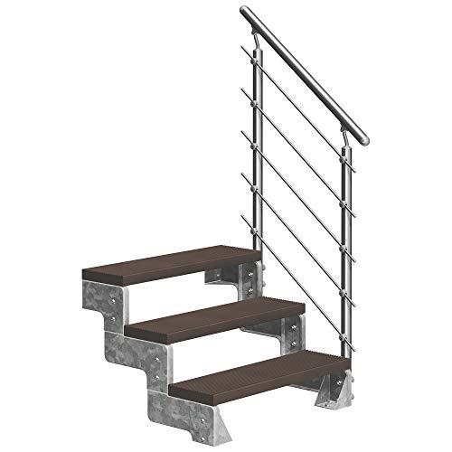 DOLLE Außentreppe Gardentop mit 3 Stufen | Geschosshöhe 54-66 cm │ Trimax® Stufenauflage Dunkelbraun │ 80 cm | mit Prova-Geländer