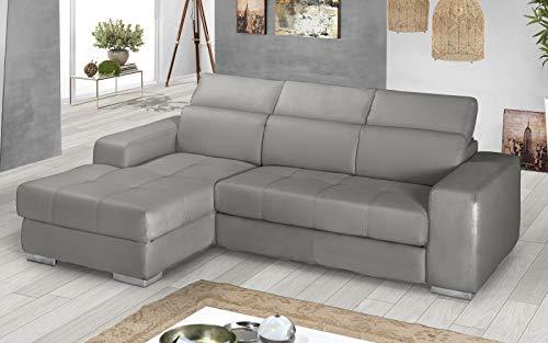 Dafne Italian Design - Sofá cama esquinero de 3 plazas con chaise longue a la izquierda, piel sintética gris Ash (259 x 178 x 94 cm)