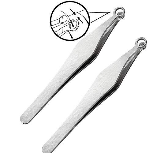 Pinzette per tagliare i capelli del naso universale Pinzette per il taglio dei capelli del naso in acciaio inossidabile Kit di rimozione dei capelli del naso tagliato Pinzette a testa tonda 2 pezzi