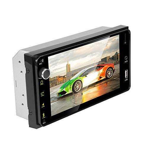 SHOH dubbel-DIN-autoradio, 7,0-inch auto-stereo MP5-speler Bluetooth, Mirror Link (IOS/Android), ondersteuning USB/TF/FM-radio/achteruitrijcamera, FM 87,5-108,0 MHz