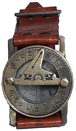 NAUTICAL GIFT Kompass und Sonnenuhr aus Messing, mit Lederarmband, Sonnenuhr.