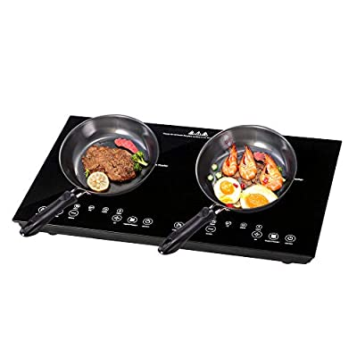 Yescom 1800W Electric Dual Induction Cooker Countertop Double Burner Cooktop Digital Touch Panel Kids Lock Portable