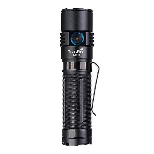 TrustFire MC3 - Linterna LED CREE XHP50, máx. 2500 lúmenes, con batería de iones de litio 21700 y USB de carga magnética para el cuello, recargable