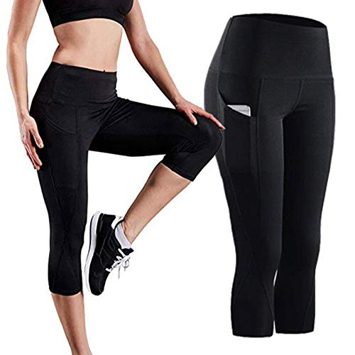 HPPLPocket Solid Sports Yoga broek Hoge taille mesh sportlegging Fitness Dames yoga legging Training hardloopbroek sportkleding, zwart-capri, XL