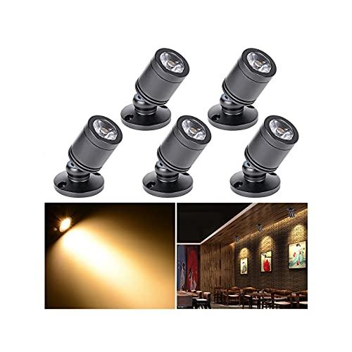 Klein LED Einbaustrahler 5 Stück 3W Mini led spot, 360° Schwenkbar, 85-265V Aluminium Deckenstrahler Deckenspots für Schrank, Flur, Galerien, Geschäfte