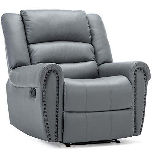 More4Homes DENVER BONDED LEATHER RECLINER ARMCHAIR w STUD SOFA HOME LOUNGE CHAIR RECLINING (Grey)