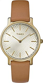 Timex Women's Quartz Watch, Analog Display and Leather Strap TW2R91800