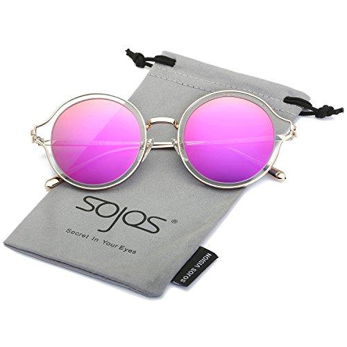 SojoS Polarisierte Runde Sonnenbrille Schick Metallrahmen Sonnenbrillen Damen Herren SJ1058 mit Gold Rahmen/Lila Polarisierte Linse