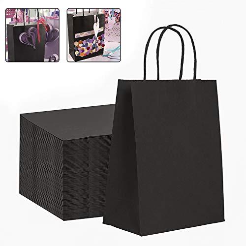 25 Stück Papiertüten aus Kraftpapier, Papiertüten mit Henkel, Geschenktüten, Geschenktüten Papier Natural, Geschenkverpackung, Kann für Partys, Kunsthandwerk, Dekoration, 17 * 8 * 23cm (schwarz)