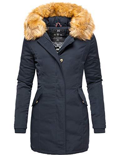 Marikoo Damen Winter Mantel Winterparka Karmaa Navy Gr. XXL