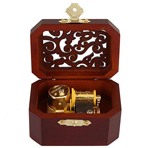 XIAOYY Caja de Música de Madera, Antique Tallado De Madera Manivela Caja De Música Cumpleaños Año, San Valentín Regalo -Classic_Red_Gold-Plated_Movement_Lion_Sleeps_Tonight