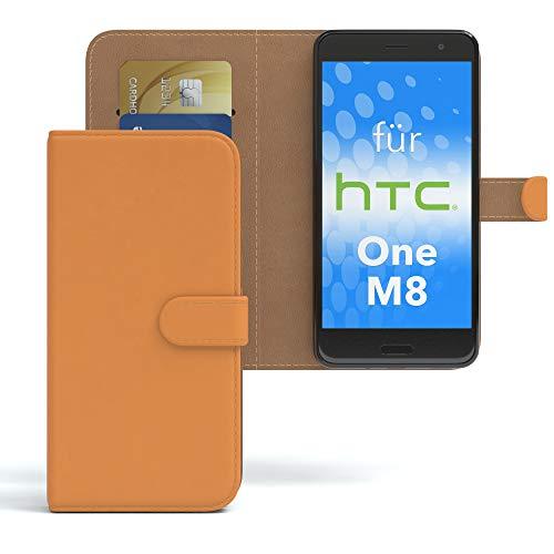 EAZY CASE HTC One (M8) / (M8s) Hülle Bookstyle mit Standfunktion, Book-Style Case aufklappbar, Schutzhülle, Flipcase, Flipstyle, Flipcover mit 2 Kartenfächern aus Kunstleder, Orange