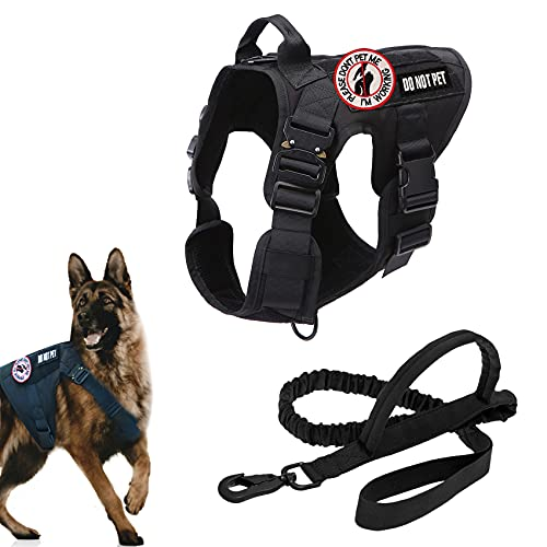 Tactical Dog Vest Harness Service Medium Large Dogs Military Harnesses Leashes Frenchie K9 Training Walking Adjustable No Pull Front Clip Leash Double Handle Pet Leash Patches(Black, Medium)