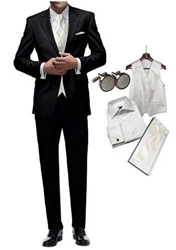 Hochzeitsanzug 8 TLG Set Freiherr v. Falkenhausen schwarz Slim fit Anzug zur Hochzeit mit Weste Elfenbein Ivory Paket (44)