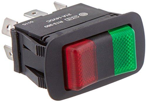 NTE Electronics 54-241W Impermeable Miniatura Iluminación Interruptor Rocker Interruptor SPDT Circuito, ON-OFF-ON Acción, PC Rojo Verde LED Actuador, 0.250' Terminal de conexión rápida, 21 Amp, 14 VDC
