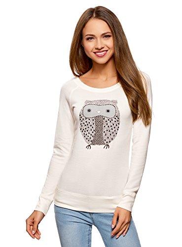 oodji Ultra Damen Sweatshirt mit Eule-Applikation, Weiß, DE 34 / EU 36 / XS
