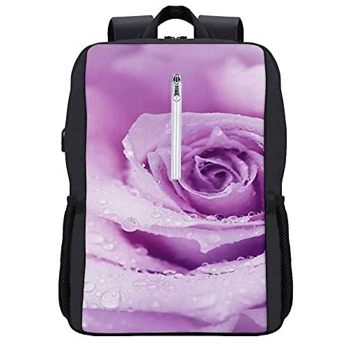 Zaino per laptop da viaggio,Fiore astratto Wet Rose Beautiful Nature Dettaglio di bellezza Macro lilla Dew colori,Borsa per computer antifurto all'acqua Business Slim con porta di ricarica USB