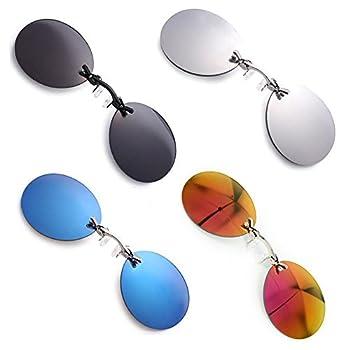 PROSOOL Sunglasses 4 Pack Retro Round Clip On Nose glasses Matrix Morpheus Movie rimless sunglasses  4 pack 4 Color  Normal Size