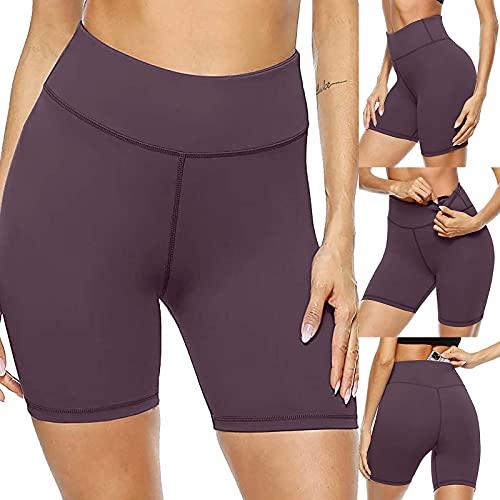Mujer Leggings de Yoga de Color Sólido Leggins Cortos Deportivos de Cintura Alta Pantalones Cortos de Deporte Push Up Mallas Transpirables Correr Gym Fitness