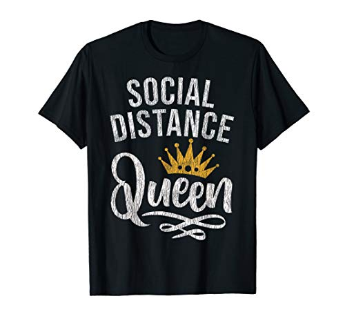 Retro Vintage Social Distance Queen Stay At Home Quarantine T-Shirt