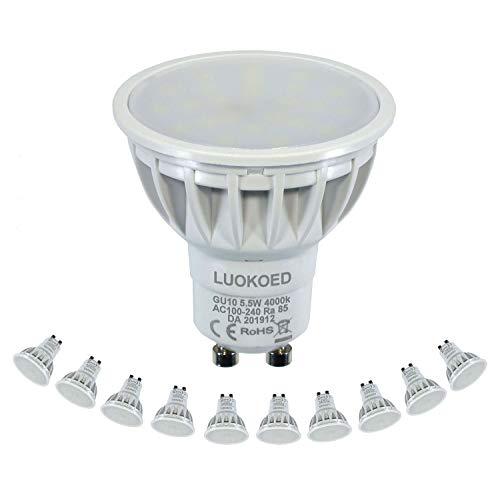 Bombilla Gu10 LED Foco 500-550lm Equivalente a 50W Luz Blanca Natural 4000K LUOKOED
