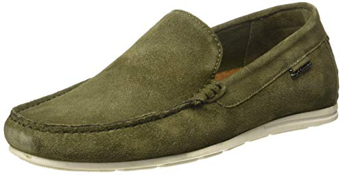 Hush Puppies Men SITTA Olive Leather Loafers-8 UK (8530008)