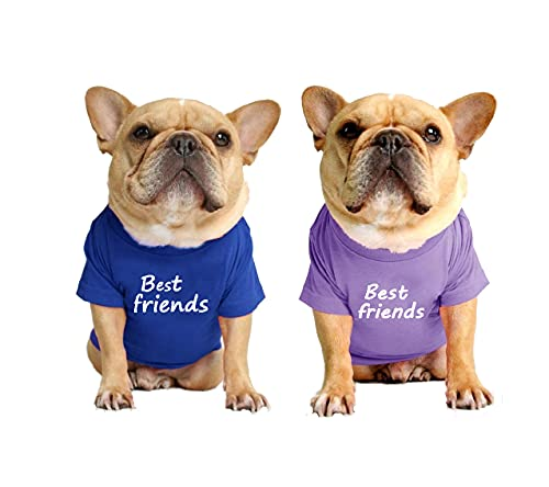 LAVRCJ Dog Shirt 2 Packs Breathable Soft Cotton Shirt Pet Dog Cat T-Shirt Cute Dog Clothing Puppy Clothes French Bulldog Clothing Summer Apparel for Small Medium Boy Girl Dogs - L