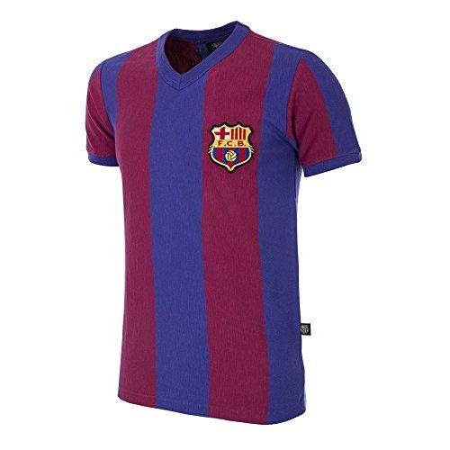 Copa Camiseta de Manga Corta con Cuello en V del FC Barcelona 1955-56, Hombre, Camiseta Retro de fútbol con Cuello en V, 725, Azul/Rojo, XL
