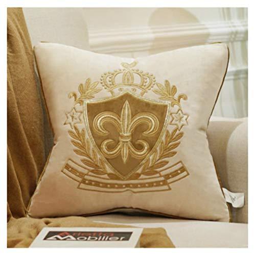 BrillaBenny Cuscino Cover Luxury Royal Stemma Reale Corona Velluto Beige Oro Giglio Sofà Arredo Casa Divano Lusso Home Yatch