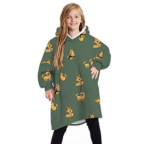NXYJD Cálido Invierno Pocket TV Franela con Capucha Mantas Sudadera Suéter Caliente Casual Manta Pijamas TV Amortiguador de la Cubierta Suave B