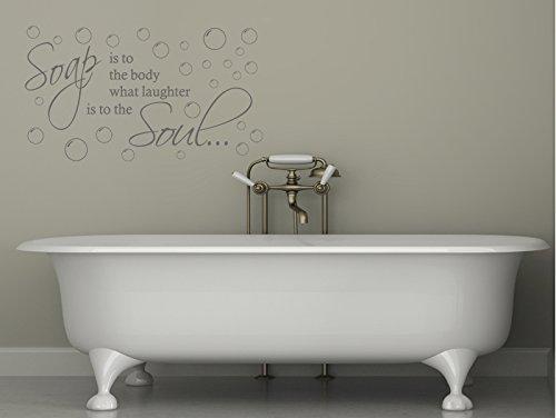 Vinilo adhesivo para pared con cita de jabón es al cuerpo, color negro medio, 56 cm de ancho x 31 cm de alto