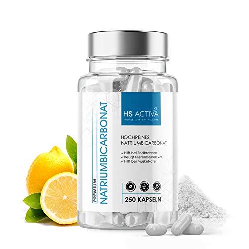 Natriumbicarbonat 99% I Nahrungsergänzungsmittel für eine basische Ernährung I Hilft bei Übersäuerung, Muskelkater & Sodbrennen I 250 Kapseln