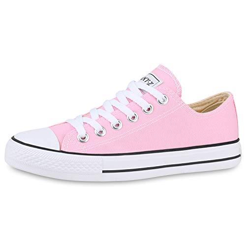 SCARPE VITA Damen Sneakers Stoffschuhe Spitze Sportschuhe Freizeit Schuhe 172651 Rosa White 39
