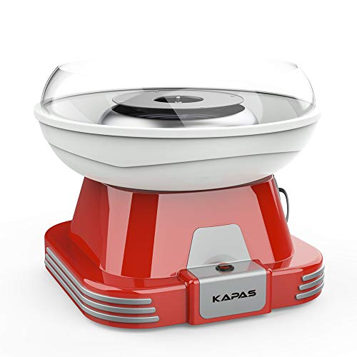 KAPAS Cotton Candy Maker, Red Candyfloss Machine with Sucker for Kids' Party, Holidays