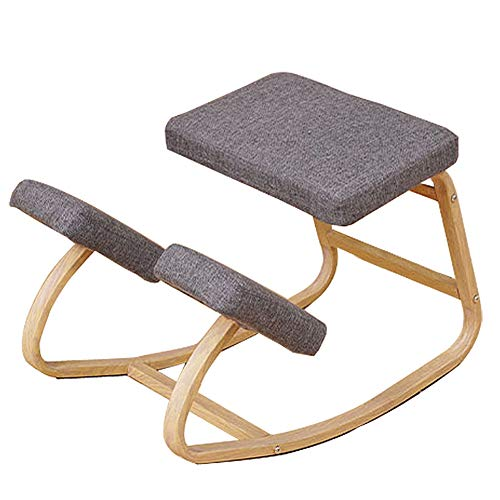 APOE Ergonomic Kneeling Chair with Back Support, Knee Chair Posture Correction Desk Stool for Home Office, Thick Comfortable Cushions, Gray