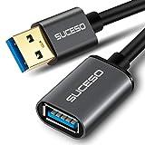 SUCESO Cable Alargador USB 3.0 2M Cable Extension USB Tipo A Macho A Hembra Alta Velocidad 5 Gbps para Impresora,Ratón,Teclado,Hub,Pendrive,Mando de PS3,VR Gafas,Disco Externo,Ordenador y Otros