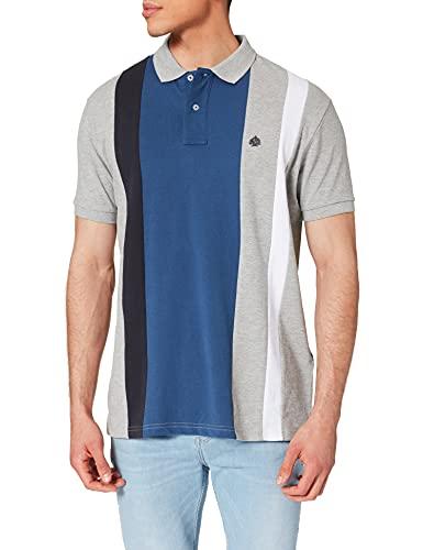 Springfield Polo Rayas Camiseta, Gris Medio, XL para Hombre