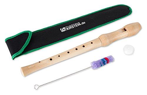 Classic Cantabile SF-110dA C-Sopran Blockflöte - 2-teilige Flöte aus Ahornholz mit deutscher Griffweise - Ideal für Kinder ab 6 Jahren - Inklusive Wischerstab, Korkfett und Tasche