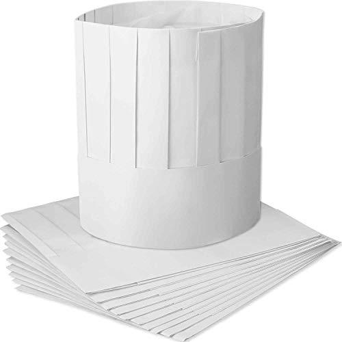 DILISEN 12 Packung Einweg 9 Zoll Papier Chef Tall Hat Set einstellbare Küche Kochen Kochmütze für Lebensmittel ReDILISENurants, Home Kitchen, Schule, Klassen, Catering Equip