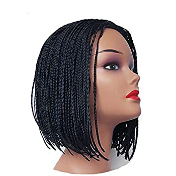 KXW Braided Wigs Box Braids Wig for Black or White Women Short Bob Wigs Synthetic Hair None Lace Front Wigs for Daily Wear  Natural Black 10inch/25cm